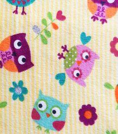 Fashion Flannel Owl & Heart Glitter