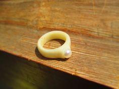 Bone ring deer bone ring real pearl ring white by LisaDecorGifts