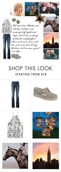 """For The Good Times"" by allthequietones ❤ liked on Polyvore featuring Citizens of Humanity, Sperry, Improvements, Ray-Ban and GET LOST"