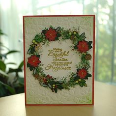 Seasons Greetings_Christmas Wreath Card, American Crafts < Kringle & Co.>, Embossing Diffuser