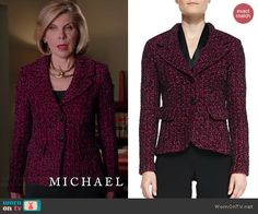 Diane's pink tweed blazer on The Good Wife. Outfit Details: http://wornontv.net/41003/ #TheGoodWife