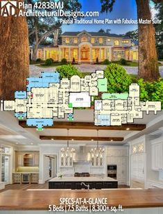 Eliminate Suite enlarge Suite flip staircase to other side, eliminate game room on main level. Dream House Plans, House Floor Plans, My Dream Home, 6 Bedroom House Plans, Castle House Plans, The Plan, How To Plan, Architectural Design House Plans, Architecture Design