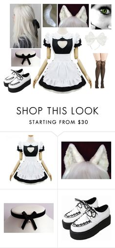"""""""Neko Me in a Maid Cafe"""" by the-brit-tiger ❤ liked on Polyvore featuring women's clothing, women, female, woman, misses and juniors"""