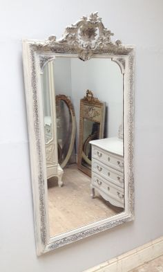 Rococo-esque antique French Mirror / Beautiful swirls / Circa 1900s / Painted Furniture / Frenchfinds.co.uk