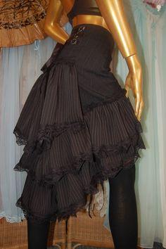 Steampunk Gothic Pinstripe Bustle Skirt Loooovvveee It!