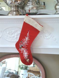 Your place to buy and sell all things handmade Vintage Christmas Stockings, Vintage Stockings, Santa Head, Diy Home Accessories, Red Felt, White Fur, Christmas Goodies, Spun Cotton, Sequins