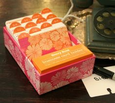 Colorful, tasteful, fashionable business card organizer.