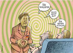 """Hypnose: Angela Merkel Hypnose Bundestagswahlen, Cartoon von Patrick Chappatte - lustig, Memes, Hypnotiseur, Politik.  Angela Merkel: """"Sie schlafen, alles geht gut, Sie gehen wählen"""".  #hypnose #merkel #mutti #angelamerkel #hypnotiseurin #hypnotiseur #bundestagswahl Satire, Humor, Memes, Ecards, Comics, Old Cartoons, Angela Merkel, Funny, Politics"""