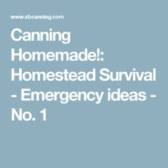 Canning Homemade!: Homestead Survival - Emergency ideas - No. 1