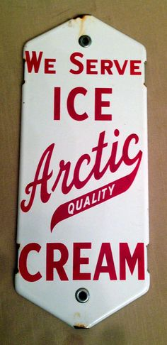 Arctic Quality Ice Cream Door Push (Vintage Porcelain Fountain Ad Sign, Antique Dairy Advertising Door Plate)