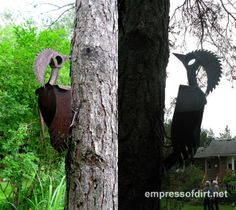 Woodpeckers! Gallery of Metal Yard Art Creations at empressofdirt.net