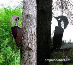 Woodpeckers! Gallery of Metal Yard Art Creations at empressofdirt.net