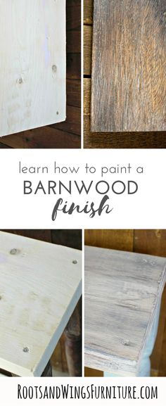 You can create your own beautifully aged wood! I have an easy painting tutorial that will show you exactly how to transform new wood into weathered barn wood.Think of all the DIY projects you could tackle! Full DIY video tutorial by Jenni of Roots and Wi Diy Furniture Tutorials, Furniture Projects, Wood Projects, Laminate Furniture, Painted Furniture, Furniture Painting Techniques, Paint Techniques, Diy Painting, Painting On Wood