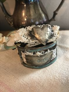 Leather, lace , vintage elements ! Hand made dapped hearts, soldered , patina , verde, German silver patina ! Terri Brush online classes ! World renoun metalsmith, silversmith educator ! Www.terribrush.com