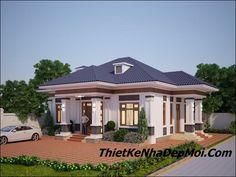 19 mẫu biệt thự nhà vườn 1 tầng 4 phòng ngủ cấp 4 mái thái đẹp 2019 Bungalow House Design, Good House, Home Fashion, Architecture, House Styles, Household, Behance, Branding, Home Decor