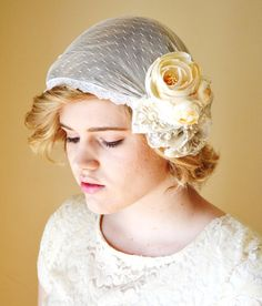 RESERVED Vintage Inspired Bridal Cap Flapper Lace by hazelfaire, $75.00