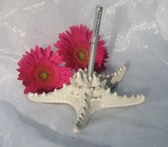 Beach Wedding-Pearlized Starfish Pen Holder for Guest Books