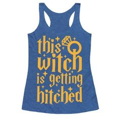 This bachelorette party shirt is great for nerdy harry potter fans who also happen to be brides, because why stop at a nerdy bachelorette party when you can have matching Hogwarts shirts with your bridesmaids like 'this witch is getting hitched!' This bride shirt is perfect for fans of bachelorette shirts, bridesmaid shirts, harry potter shirts and fandom shirts.
