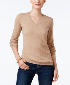 Charter Club Cashmere V-Neck Sweater, Heather Camel 140, 40