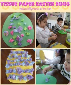 Tissue Paper Easter Eggs - Crafty Mama in ME!