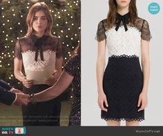 Aria's black and white lace dress on Pretty Little Liars.  Outfit Details: https://wornontv.net/56154/ #PLL