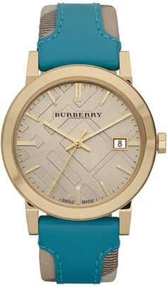 Burberry Timepieces 'Large' Stamped Leather Strap Watch