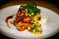 Mexican Spiced Fish Fillets with Mango Salsa and Coconut Lime Rice http://emsfoodforfriends.com.au/mexican-spiced-fish-fillets-with-mango-salsa-coconut-lime-rice/