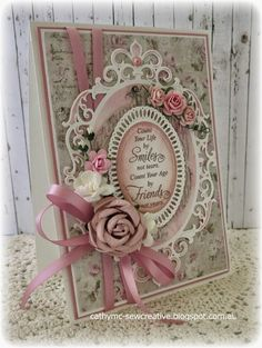 Keep Smiling ~ Maja Design ~ (Sew Creative) Homemade Birthday Cards, Vintage Birthday Cards, Birthday Cards For Women, Vintage Cards, Making Greeting Cards, Greeting Cards Handmade, Shabby Chic Cards, Spellbinders Cards, Anna Griffin Cards