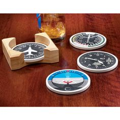Instrument Stoneware Coasters | Aviation Enthusiast | Gift Guide - from Sporty's Pilot Shop