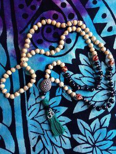 108 wooden bead MALA tradtional Mala necklace by HappyHempCrafts