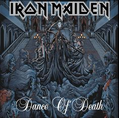 "Iron Maiden inspired artwork ""Dance of Death"" by Megan Mushi, silk screen limited edition. Iron Maiden Cover, Iron Maiden Band, Hard Rock, Dark Artwork, Metal Artwork, Iron Maiden Albums, Eddie The Head, Rock Y Metal, Dance Of Death"