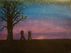 Boys catching lightning bugs Lightning, Bugs, Painting, Art, Art Background, Beetles, Painting Art, Kunst, Lightning Storms