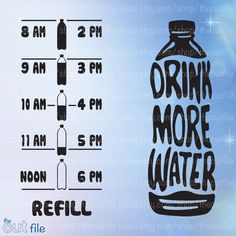 Drink More Water svg, Water bottle front & back motivation, vinyl decal cutting file in jpeg svg dxf and eps format Vinyl Crafts, Vinyl Projects, Paper Crafts, Vinyl Wall Art, Vinyl Decals, Water Bottle Tracker, Water Bottle Design, Drink More Water, Online Tutorials
