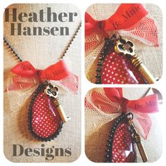 Polka Dot Chandelier Soldered pendant with Key by thehansenfamily, $30.00