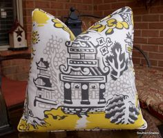 One or Both Sides - ONE High End Thibaut Luzon Enchantment Grey on Lemon Pillow Cover with Self Cording by SouthernShades on Etsy https://www.etsy.com/listing/212386434/one-or-both-sides-one-high-end-thibaut