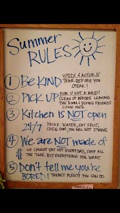 Summer rules House Rules Sign, Family Rules Sign, Parenting Ideas, Kids And Parenting, Single Parenting, Chore Charts, Behavior Charts, Summer Time, Summer Fun