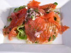Cucumber ribbon salad with smoked salmon