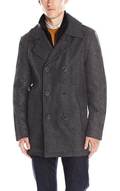 Marc New York by Andrew Marc Men's Cheshire Pressed Wool Peacoat W/ Inset Knit Bib, Charcoal, Medium ❤ Andrew Marc Men's Outerwear