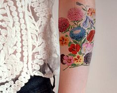 Beautiful large vintage floral temporary tattoo by Tattoorary