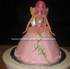 Homemade Fairy Birthday Cake: I made this Fairy Birthday Cake for my niece who wanted a fairy cake for her birthday. I started by using a Wilton doll cake pan. I purchased a fairy doll