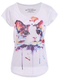 Cute Short Sleeve Round Collar Cat Pattern T-Shirt For Women (WHITE,ONE SIZE(FIT SIZE XS TO M)) | Sammydress.com