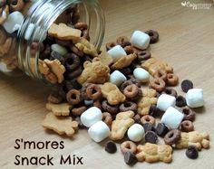 This S'mores Snack Mix is easy to make and is a fun snack to pack for school! CozyCountryLiving.com #smores #snacks #backtoschool