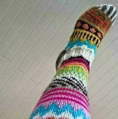 Cutest Knitted Socks, Sukkakori, Wool Socks, villasukat, knitting, 7 veljestä, polvisukat, knee, colorfull, ideas, knee highs