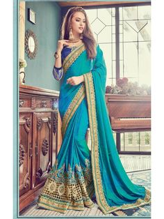 Remarkable Shaded Blue Party Wear Saree