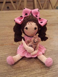 Crocheted Rag Doll With Teddy - Crochet creation by SRO-AUSTIN