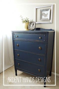 Indigo Streamer by Valspar. 4010-4. plaster or paris added to paint to create chalk paint, and then dresser was distressed.  Ardent Hands Designs: Before and After >> Navy Dresser