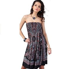 Lookatool Womens Bohemian Dress Vintage Ropa Mujer Print Beach Summer Vestidos XXL Black -- Be sure to check out this awesome product.