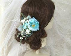 Wedding hair clip bridal hair accessory pink by HollyHoopsArt