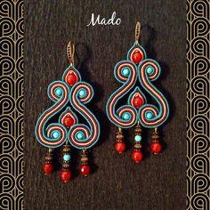 Beaded Earrings, Earrings Handmade, Handmade Jewelry, Boho Jewelry, Beaded Jewelry, Fabric Origami, Soutache Necklace, Earring Tutorial, Button Crafts