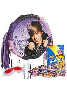 Justin Bieber Pinata Kit by COSTUME SUPERCENTER. $31.99. Girls will go crazy for the Justin Bieber Pinata Kit. This party supply includes a circular pinata with a black and purple border, strings and streamers, and picture of Justin Bieber with a printed autograph. It also includes a three pound bag of Kiddie Mix assorted candy and a blindfold. Justin Bieber is a popular Canadian singer-songwriter who became famous in about 2009, and has won several awards. This pinata woul...